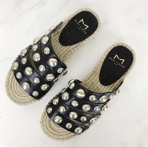 Marc Fisher Brandie Black Stud Espadrille Sandals